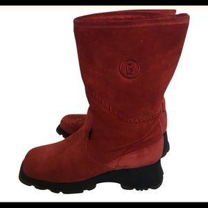 Bogner Red Suede Fleece Lined Boots / Size 8